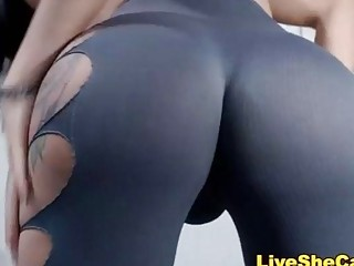 Curvy shemale with an amazing ass tugs on her cock